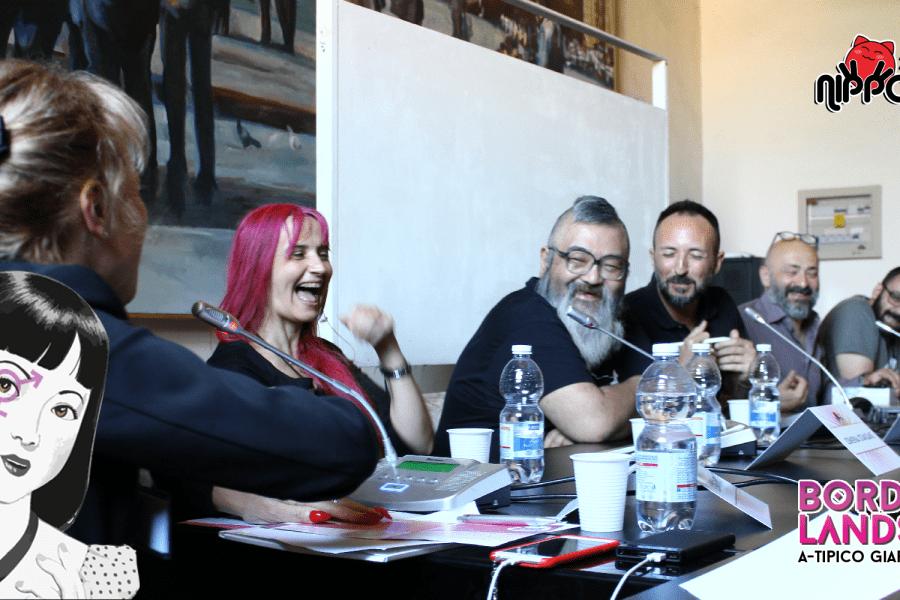 Tagame Gengoroh conversa con Nino Giordano, Simona Stanzani, Elena Zanzi, Marco Lupoi e Paola Scrolavezza